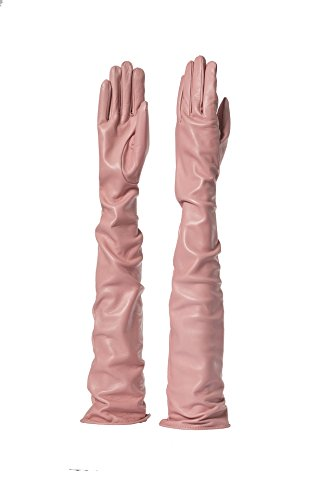Parisi Gloves - Italian Leather Gloves 60cm long - silk lining - 16Pst (8, PINK) by PARISI GLOVES