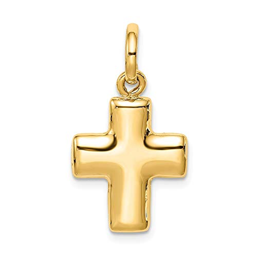 14K Yellow Gold Puffed Cross Charm Pendant from Roy Rose Jewelry ()