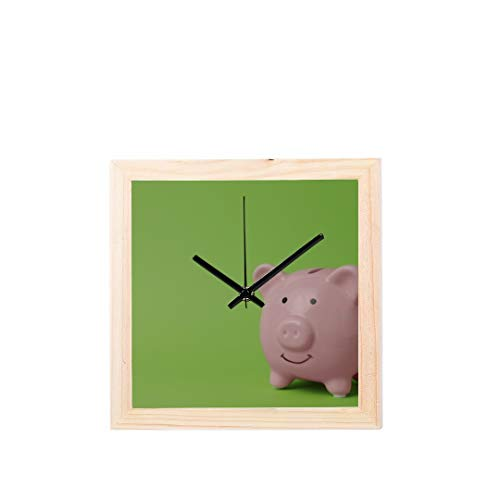 Office Clock Large Pink Pig Piggy Bank Money Non-Ticking Square Silent Wooden Diamond Display Wall Clocks Painting Dial Kitchen Bedroom Decor Wall Decor Clock Large (Pig Clock Bank)