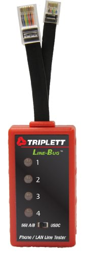 Triplett Line-Bug 4 Phone & LAN Line Tester - Helps You Find Damaging Line Currents on RJ-11 or RJ-45 Lines | RJ-11 & RJ-45 Style Plugs | LEDs Indicate Current, Polarity, Ringing/AC Volts - (9615)