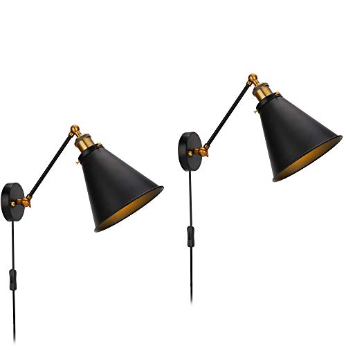 Wall Lamp Plug in Cord with ON/Off Switch Black Industrial Vintage Edison Wall Light Fixtures Simplicity Steel Finished Adjustable Arm Set of 2 by EE Eleven Master (Image #7)