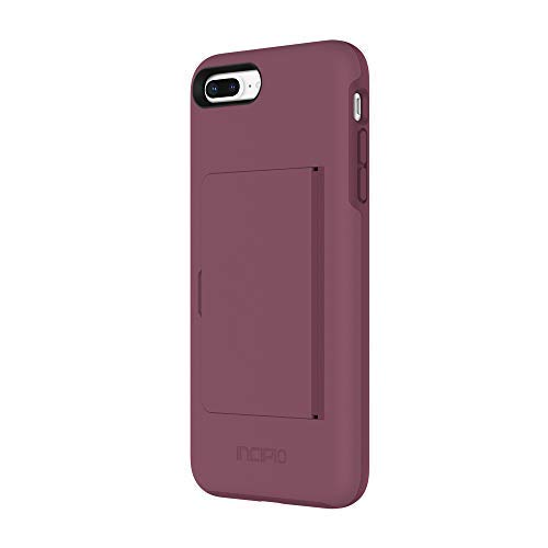 Incipio IPH-1503-PLM Apple iPhone 7 Plus / 8 Plus Stowaway Credit Card Hard Shell Case with Silicone Core - Plum (Incipio Stowaway Case For Iphone 6 Plus)