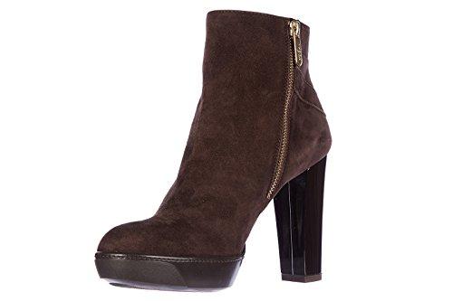 Hogan stivaletti stivali donna con tacco camoscio opty 188 tronchetto fibbia mar