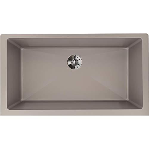 (Elkay ELXRUP3620SM0 Quartz Luxe Single Bowl Undermount Kitchen Sink with Perfect Drain, Silvermist)