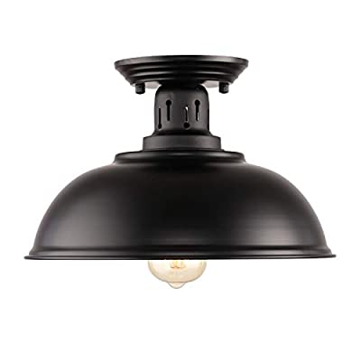 HMVPL Semi Flush Mount Ceiling Light Fixture, Farmhouse Black Close to Ceiling Lighting Industrial Decor Lamp for Kitchen Island Bedroom Living Room Foyer Hallway Entryway Office Closet - Wide Application: Kitchen Island, Dining Room, Living room, Bed room, Café, Bar, Hotel, Office, Hallway, Entryway, Foyer, barn, warehouse, basement, garage, porch, and more. Retro Industrial Design - This pendant light features on the black finish lampshade, which easily brings you back to 19th century. It will adds stylish touch to your house and business areas. Medium Base Socket -Designed with E26 bulb socket that is compatible with a variety of bulb types: Incandescent, Halogen. LED (60W Max, Not Included). This fixture can be dimmable if use compatible dimmer switch and bulb. - kitchen-dining-room-decor, kitchen-dining-room, chandeliers-lighting - 317ccDPI4sL. SS400  -