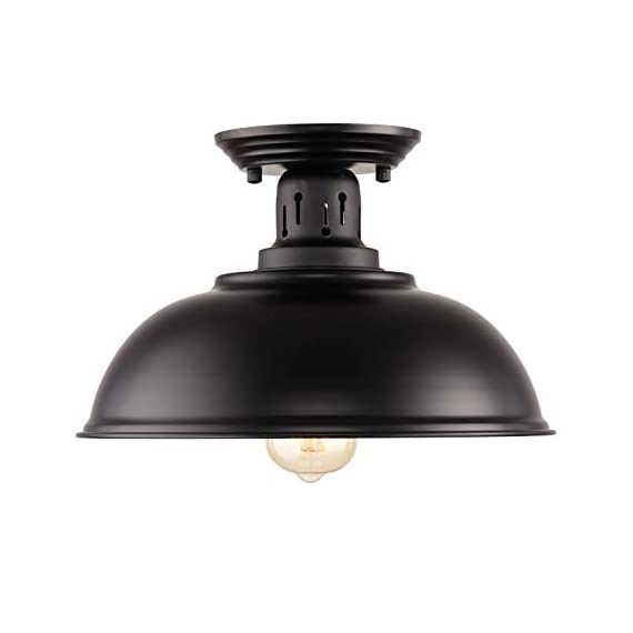 HMVPL Semi Flush Mount Ceiling Light Fixture, Farmhouse Black Close to Ceiling Lighting Industrial Decor Lamp for Kitchen Island Bedroom Living Room Foyer Hallway Entryway Office Closet - Wide Application: Kitchen Island, Dining Room, Living room, Bed room, Café, Bar, Hotel, Office, Hallway, Entryway, Foyer, barn, warehouse, basement, garage, porch, and more. Retro Industrial Design - This pendant light features on the black finish lampshade, which easily brings you back to 19th century. It will adds stylish touch to your house and business areas. Medium Base Socket -Designed with E26 bulb socket that is compatible with a variety of bulb types: Incandescent, Halogen. LED (60W Max, Not Included). This fixture can be dimmable if use compatible dimmer switch and bulb. - kitchen-dining-room-decor, kitchen-dining-room, chandeliers-lighting - 317ccDPI4sL. SS570  -