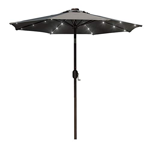 - Sundale Outdoor 7 ft Solar Powered 24 LED Lighted Patio Umbrella Table Market Umbrella with Crank and Push Button Tilt for Garden, Deck, Backyard, Pool, 8 Steel Ribs, Polyester Canopy (Gray)