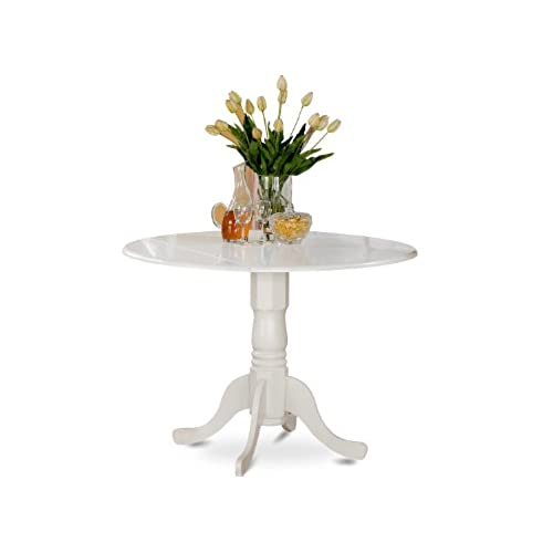 Small round kitchen table amazon east west furniture dlt whi tp round table with two 9 inch drop leaves workwithnaturefo