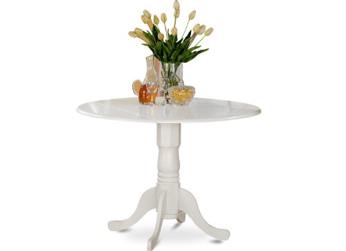Round Dining Tables Chairs - East West Furniture DLT-WHI-TP Round Table with Two 9-Inch Drop Leaves