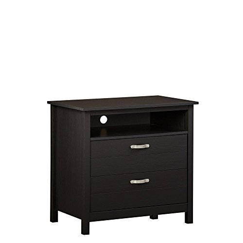 2 Drawer Media Stand - Ameriwood Home 5981325COM River Layne Media Dresser, Black Oak