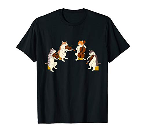 Fun Cats Playing Violin Cello Shirt Gift Music Cat Lover Tee T-Shirt