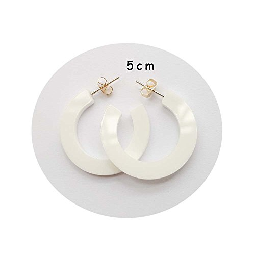 (New Arrival Creative Transparent Acrylic Material Exaggerated Circular Shape Candy Colors Women/Girl's Charm Earrings Ear Studs(5cm) (White(5cm), 5))