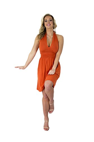 Charm Your Prince Women's Summer Halter Top Sundress (Large, Orange)