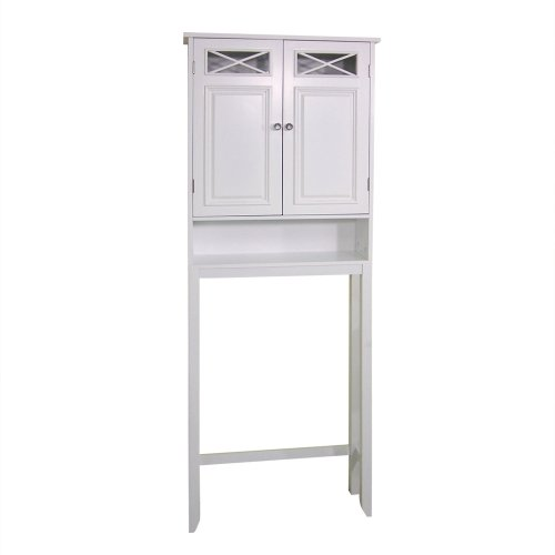 Space Saver Cubby - Elegant Home Fashions Dawson Collection Shelved Bathroom Space-Saver with Storage Cubby, White