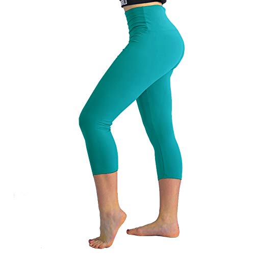 TNNZEET High Waisted Tummy Control Soft Plus Size & One Size Capri Leggings Elastic Opaque Slim Teal