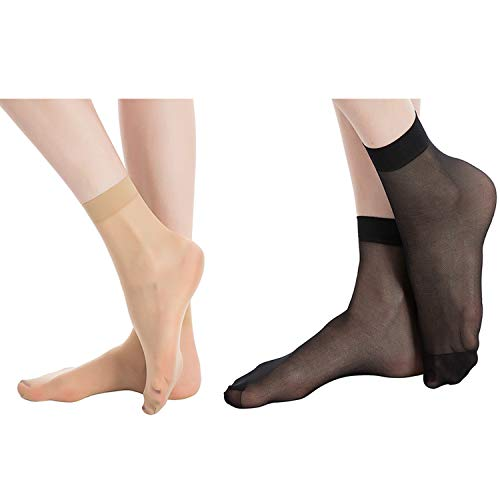 (MANZI 12 Pairs Women's Ankle High Sheer Socks (6 Pairs Black,6 Pairs Nude))