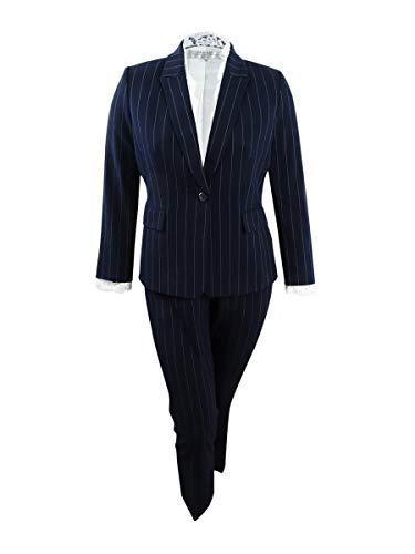 Tahari by Arthur S. Levine Women's Petite 1 Button Peak Lapel Pinstriped LACE Trim Pant Suit, Navy/White, 14P (14p Tahari)