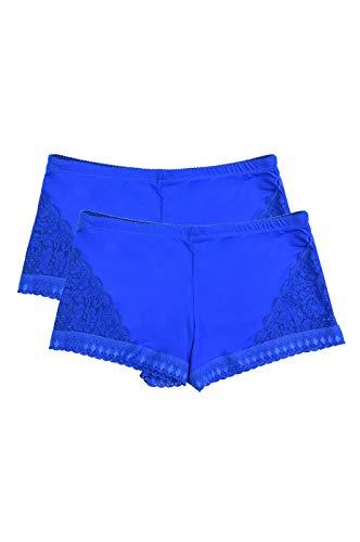 Women's Premium Lace Side Trim Boyshort Panty (2 Pack) (X-Large) - Boys Panty Blue