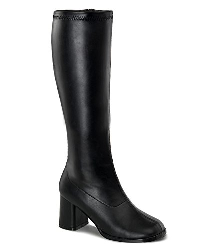 Womens Knee High Boots GOGO 3 Inch Wide Calf Sexy Block Heel Knee Boot Black Poly Size: 11 ()