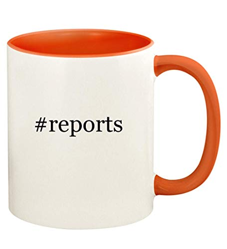 #reports - 11oz Hashtag Ceramic Colored Handle and Inside Coffee Mug Cup, Orange (Consumer Reports Best Microwave 2019)