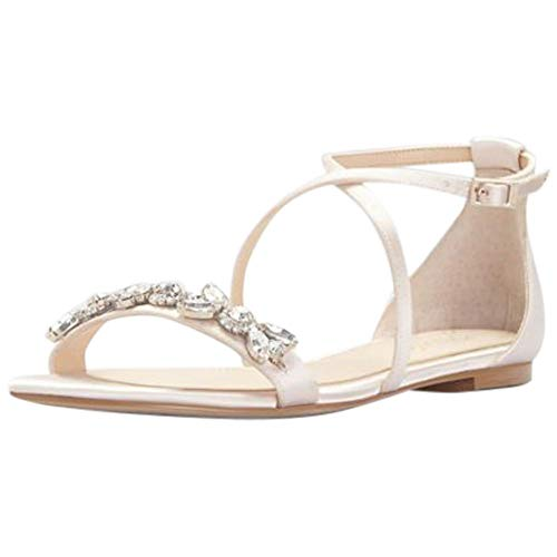 Satin and Crystal Cross-Strap Flat Sandals Style JWTESSY, Champagne, 8.5