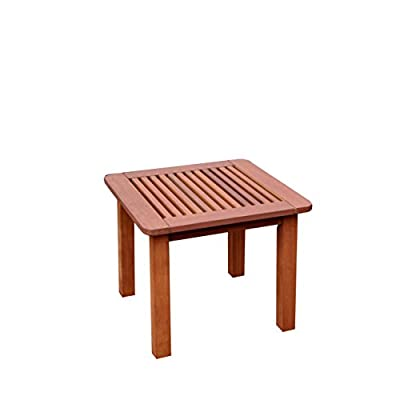 CORLIVING PEX-864-T Miramar Outdoor Side Table, Cinnamon Brown - Cinnamon Brown Stained hardwood construction Weatherproof and moisture resistant Mission styled design - patio-tables, patio-furniture, patio - 317cnn1YVfL. SS400  -
