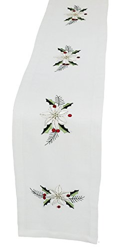 Xia Home Fashions Country Poinsettia Embroidered Hemstitch 8 by 62-Inch Christmas Table Runner, Mini, White by Xia Home Fashions