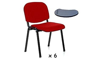6x - Silla confidente para oficina con brazo pala apilable ...