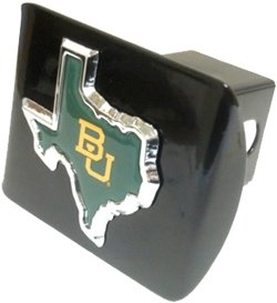 """Baylor University Bears """"Black and Chrome with """"BU Texas Shape"""" Emblem"""" Metal Trailer Hitch Cover Fits 2 Inch Auto Car Truck Receiver with NCAA College Sports Logo"""