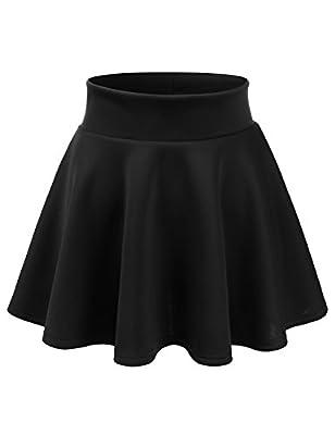 NINEXIS Womens Elastic Waist Band Versatile Stretchy Flared Mini Skater Skirt