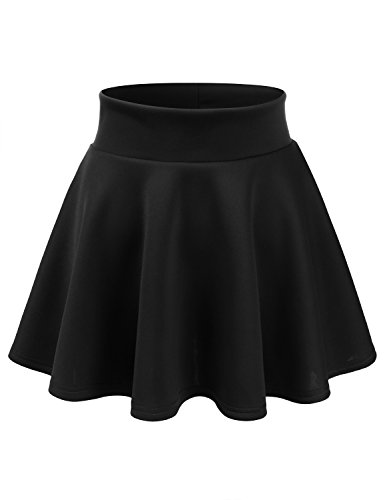 CLOVERY Womens Basic Versatile Stretchy Flared Skater Mini Skirt