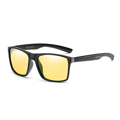 - Wood Print Night Vision Sunglasses Vintage Square Classic Unisex Glasses By Long Keeper (Yellow)