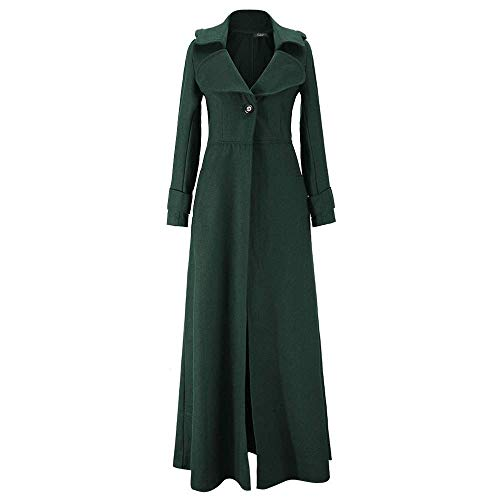 LINGMIN Women's Single Breasted Pea Coat Winter Solid Color Tweed Maxi Trench Overcoat ()