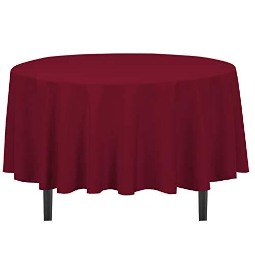 Burgundy Elegance Round Tablecloth - LinenTablecloth 90-Inch Round Polyester Tablecloth Burgundy
