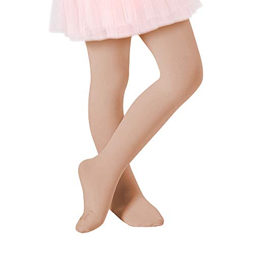 Century Star Ultra-Soft Footed Dance Sockings Ballet Tights Kids Super Elasticity School Uniform Tights For Girls 1 Pack Nude ()