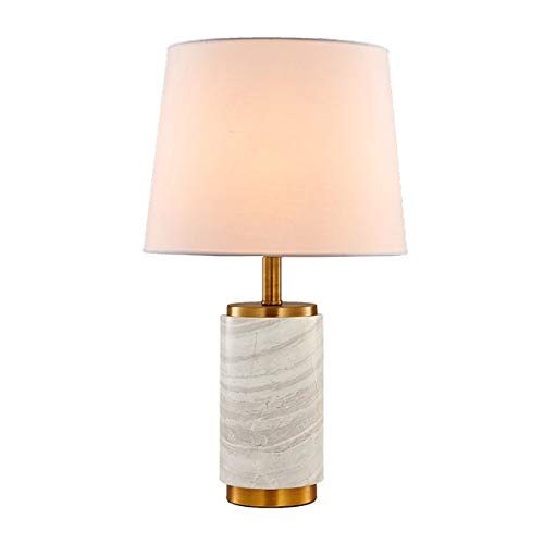 Marching orchid Marble Desk Lamp,Modern Simple Creative Linen Fabric Shade Cone Marble Base Table Lamp E27 Light Study Office Bedroom Bedside Reading Lamp