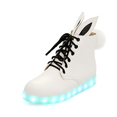 Women's Boots Spring Fall Winter Comfort Novelty Ankle Strap PU Casual Athletic Party & Evening Flat Heel Lace-up LED Pom-pomWhite White LNctwXYhtC