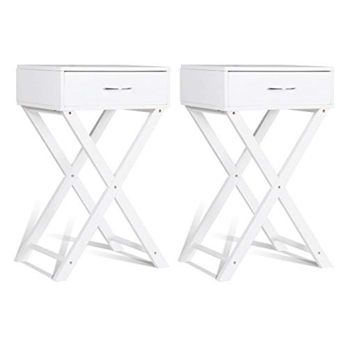 Giantex Set of 2 Nightstand End Table X-Shape Living Room Bedroom Accent Furniture Sofa Side Table with Drawer, White (2)