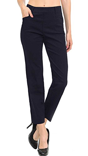VIV Collection New Women's Straight Fit Trouser Ankle Pants (Large, Navy)