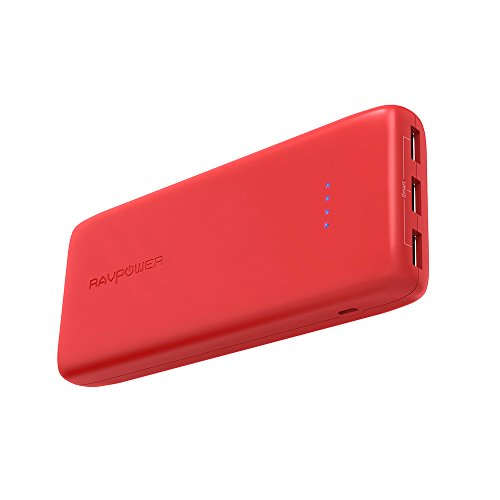 Power Banks RAVPower 22000 Portable Charger 22000mAh 5.8A Output 3-Port Battery Pack (2.4A Input, iSmart 2.0 USB Ports, Li-polymer Battery Banks) Portable Battery Charger For Smartphone Tablet - Red