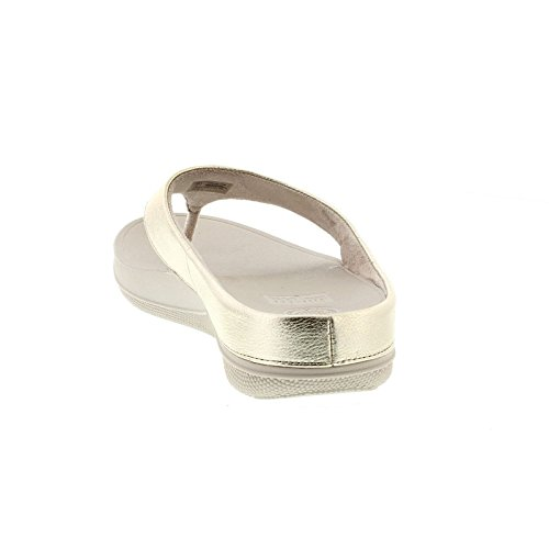 FitFlop Womens Superlight Ringer Toe-Post Leather Sandals Oro Pálido