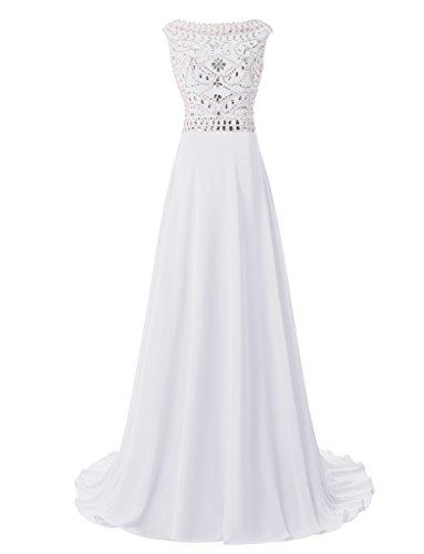 jydress femmes de perles une ligne en mousseline de soie robe Soirée Party robe de soirée 2016 -  blanc - 46