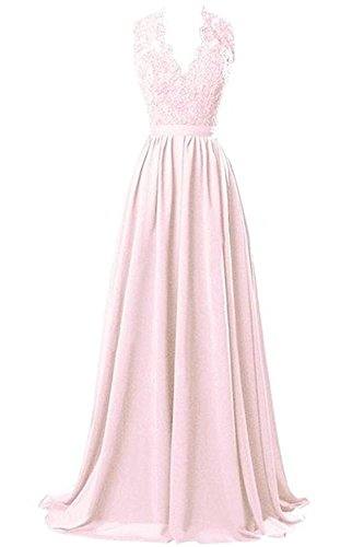 (Victoria Prom V-neck Long Chiffon open Back Bridal Prom Evening Dress Peach us8)