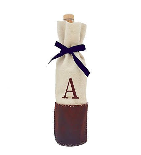 Amore Beaute Handcrafted Monogram Leather Wine Bag, Personalized Felt Wine Bag, Letter Wine Tote, Personalized Wine Bag, Leather Wine Bag Leather Wine Tote, Creative valentines, Personalized Gift (1) (Wine Standard Monogram)