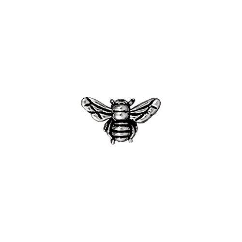(TierraCast Honeybee Bead, 9.5mm, Antique Fine Silver Plated Pewter, 4-Pack)