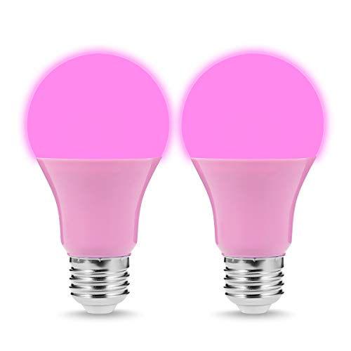 (JandCase Pink Light Bulbs, Holiday Decoration LED Lights, 40W Equivalent, 5W, Pink LED Chips, A19 Outdoor Light Bulbs with E26 Medium Base, Porch, Home Lighting, 2 Pack)