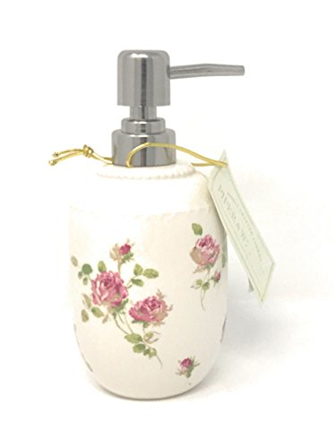 Five Queens Court Rosalind Country Chic Floral Bathroom Accessories, Lotion Soap Dispenser, Pink Rose -
