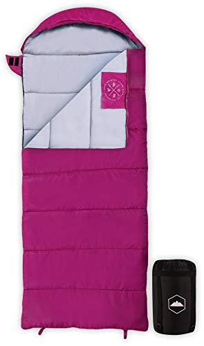 Tough Outdoors Kids Sleeping Bag for Girls, Boys, Youth & Teens - Perfect for Children's Camping, Sleepovers & Nap Time - All Season, Lightweight & Compact - Fits Kids up to 5'1