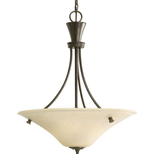 Bronze Foyer Three Forged Light (Progress Lighting P3814-77 3-Light Cantata Inverted Pendant, Forged Bronze)