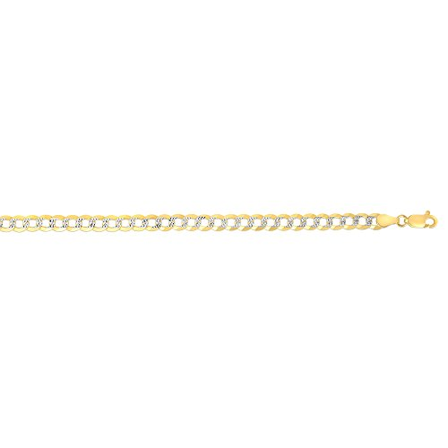 """14kt Yellow & White Gold Finish 3.6mm Diamond Cut Comfort Pave Curb Chain 20"""" with Lobster Clasp"""